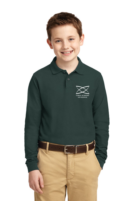 Middle School - Youth Long Sleeve Polo Green