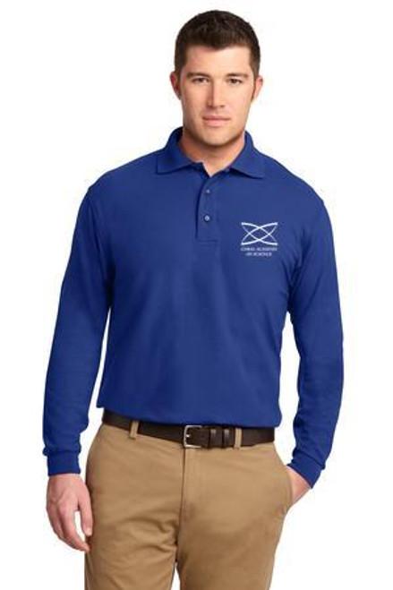 High School - Adult Long Sleeve Polo Royal Blue