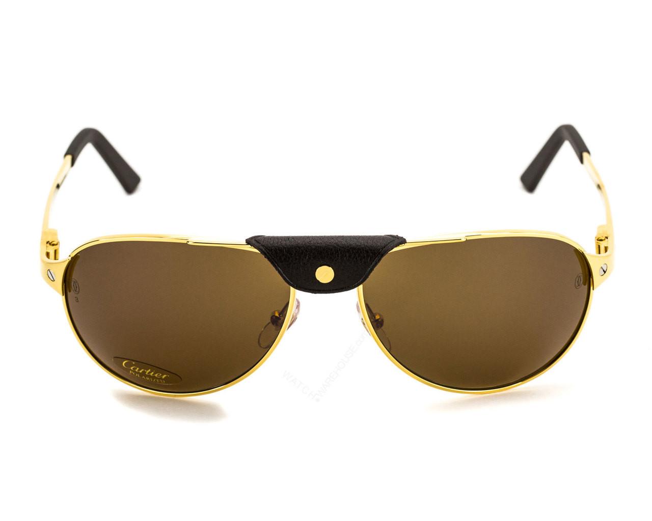 b79d44d8f41f6 T8200888 Cartier Santos Dumont 58mm Gold Rimmed Men s Sunglasses