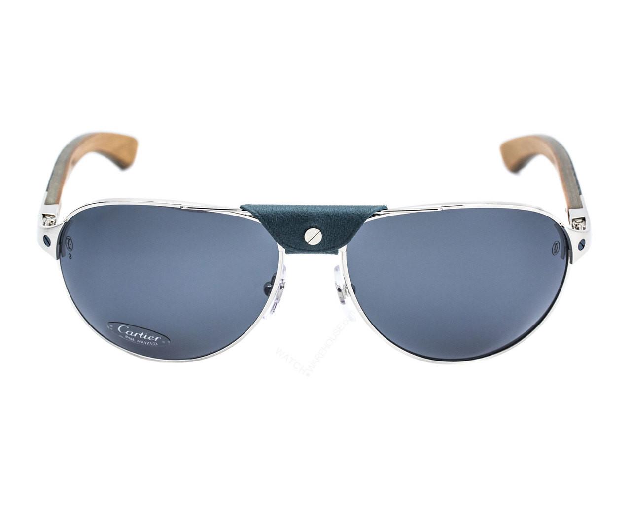 ebca809eefbf7 T8200941 Cartier Santos Louro Faya 61mm Wood Brushed Men s Sunglasses