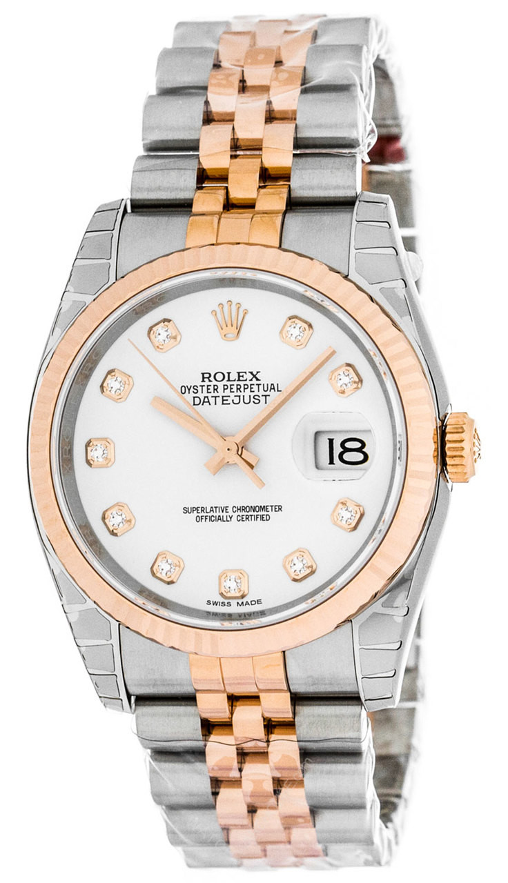 f9c4380b3ce 116231 Rolex Datejust 36mm Oyster Diamond White Dial Automatic Watch
