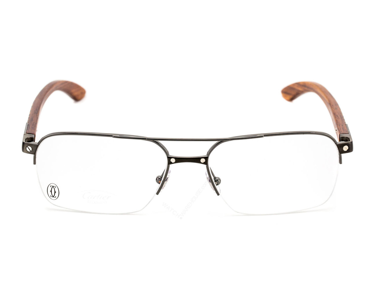 EYE00055 Cartier Santos Titanium Wood Marquetry Men\'s Optical Glasses