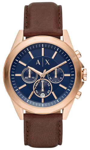 ARMANI EXCHANGE 44MM CHRONO Drexler Blue Dial LTHR Men's Watch AX2626