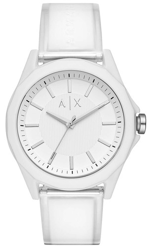 Armani Exchange White Dial 44mm Polyurethane Band Men's Watch AX2630