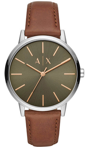 Armani Exchange Green Olive Dial 42mm Brown LTHR Men's Watch AX2708