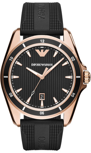 EMPORIO ARMANI 44MM Black Dial Black Rubber Band Men's Watch AR11101