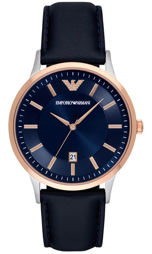 EMPORIO ARMANI 43MM Blue Dial 2-Tone Black Leather Men's Watch AR11188