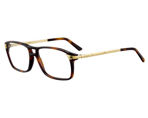 CARTIER Rectangular Havana Gold Transparent Lens 55-16-135MM Unisex Eyewear CT0079O 002