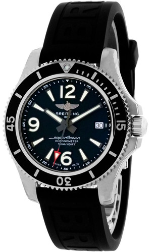 BREITLING Superocean 42 Automatic Black Dial Rubber Band Men's Watch A17366021B1S1