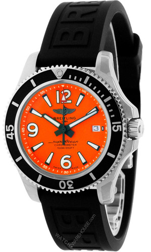 BREITLING Superocean 42MM AUTO Orange Dial Men's Watch A17366D7101S1