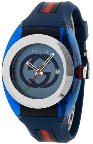 GUCCI Sync 46MM Swiss Blue and Red Rubber Strap Unisex Watch YA137104