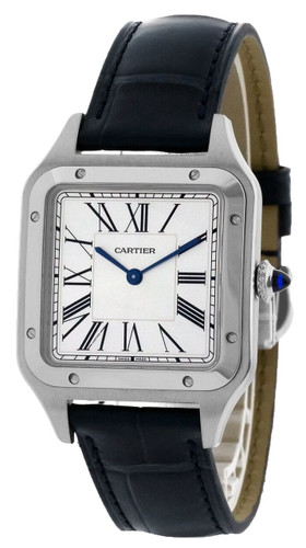 CARTIER Santos-Dumont 43.5MM x 31.4MM Silver Dial Men's Watch WSSA0022