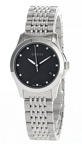GUCCI G-Timeless 38MM S-Steel Black Diamond Dial Men's Watch YA126405