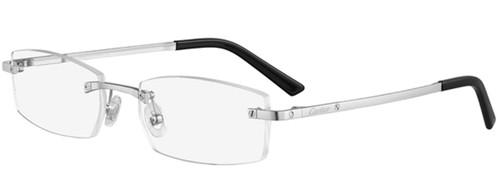 CARTIER High-Rectangular Rimless Silver Titanium 53-18-140MM Unisex Eyewear CT0087O 001