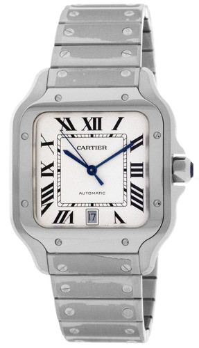 CARTIER Santos De Large Silvered Opaline Dial 39.8MM Men's Watch WSSA0018