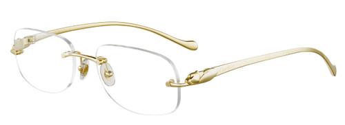 CARTIER High-Rectangular Rimless Gold Metal 50-16-130mm Unisex Eyewear CT0059O 002