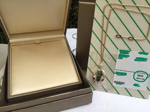 BULGARI Serpenti Gold Emerald Stone Necklace 356782