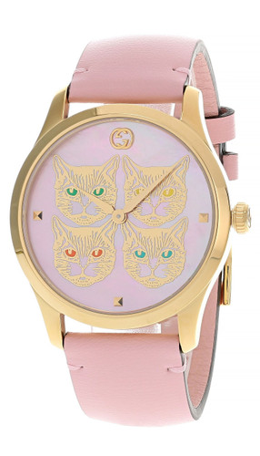 GUCCI G-Timeless 38MM Pink MOP Feline Dial Women's Watch YA1264132