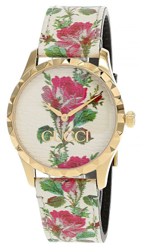 GUCCI G-Timeless 38MM Beige Floral Print Dial Women's Watch YA1264084