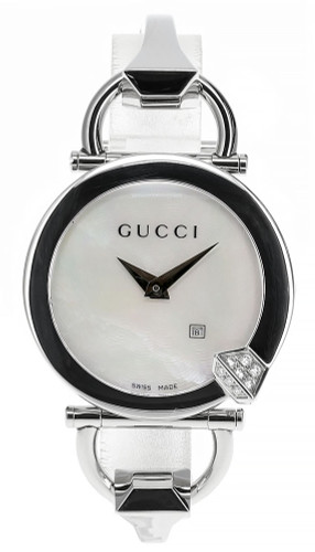 GUCCI Chiodo 35MM WHT Mother of Pearl Guilloche Women's Watch YA122505