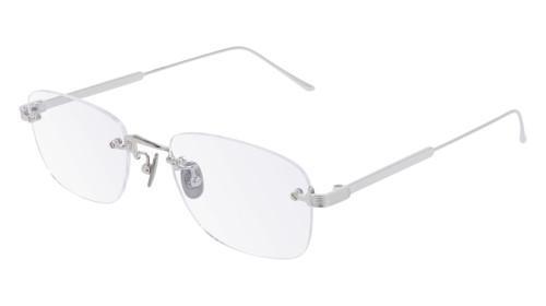 CARTIER Rectangular Rimless Silver Titanium 54-20-145mm Unisex Eyewear CT0228O 003