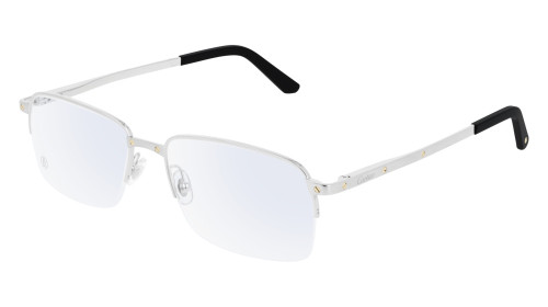 CARTIER Rectangular Rimless Silver Metal 56-18-145mm Unisex Eyewear CT0168O 006