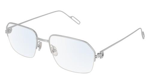 CARTIER Semi Rimmed Metal Silver 57-20-140MM Unisex Eyewear CT0114O 002