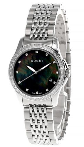 GUCCI 126 G-Timeless 27MM Diamond MOP Black Dial Women's Watch YA126509