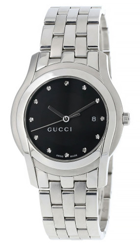 GUCCI Date 27MM Quartz SS Black Dial 12 Diamond Men's Watch 5500L