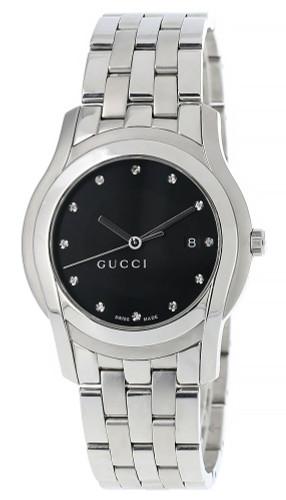 GUCCI Date 27MM Quartz SS Black Dial 12 Diamond Men's Watch 5500L -D