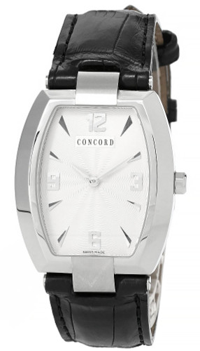 CONCORD Commerce 33MM White Dial Black Leather Men's Watch 0310649