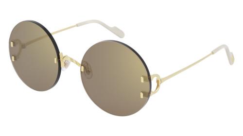 CARTIER Round Gold Lens 56-20-135MM Ladies Sunglasses CT0152S 003