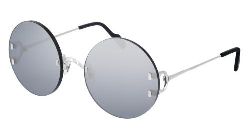 CARTIER Round Silver Lens 56-20-135MM Ladies Sunglasses CT0152S 004