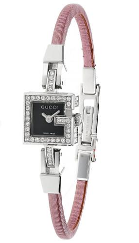 GUCCI 102G Diamond Black Dial Pink Satin Strap Women's Watch YA102510