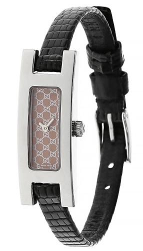 GUCCI Quartz SS Pink Dial BLK Leather Strap Women's Watch 3900L-23939