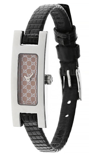 GUCCI Quartz SS Pink Dial BLK Leather Strap Women's Watch 3900L-23939