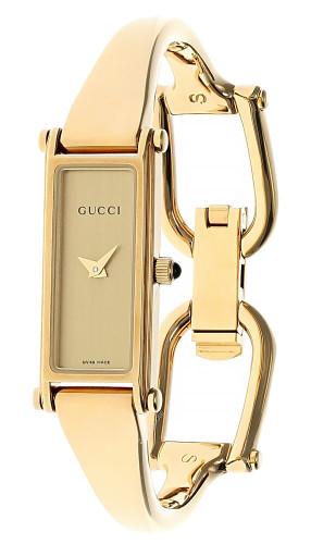 GUCCI 13x6MM SS Gold Dial Rectangular Bracelet Small  Women's Watch 1500L