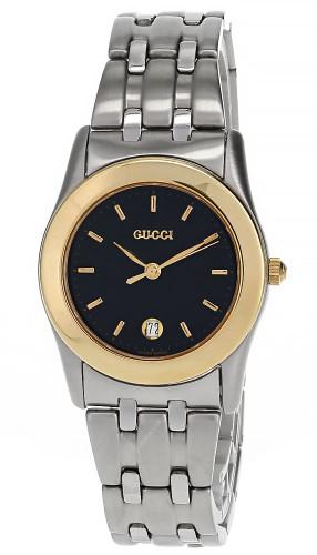 GUCCI Quartz Stainless Steel Black Dial Gold Bezel Women's Watch 530L