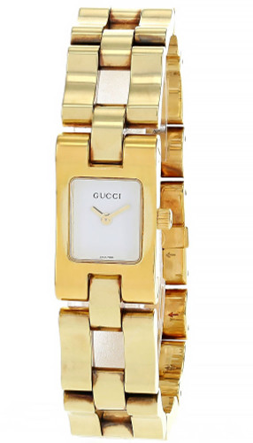 GUCCI Gold Stainless Steel Square White Dial Women's Watch 2305L-22305