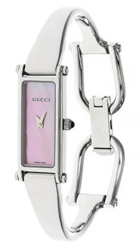 GUCCI 13x6MM Stainless Steel Pink Dial Bracelet Women's Watch YA015509