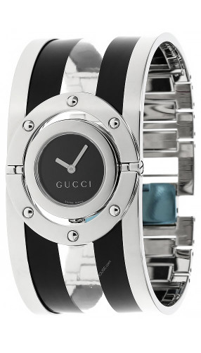 GUCCI Twirl  QTZ SS BLK Dial Acrylic Bangle Women's Watch YA112414