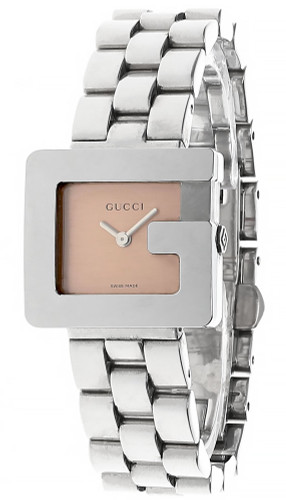 GUCCI Stainless Steel Medium G Shape Rose Dial Women's Watch 3600L