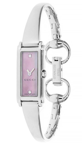 GUCCI G-Line 109 Pink MOP Dial 2Diamond Bangle Women's Watch YA109520