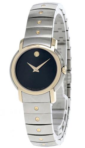 MOVADO SL Quartz S-Steel Black Dial Two-Tone Women's Watch 0605720