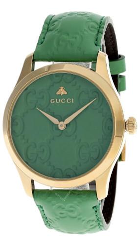 GUCCI G-Timeless 38MM Green Dial Ostrich LTHR Women's Watch YA1264099