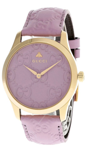 GUCCI G-Timeless 38MM Lilac GG Dial Leather Women's Watch YA1264098