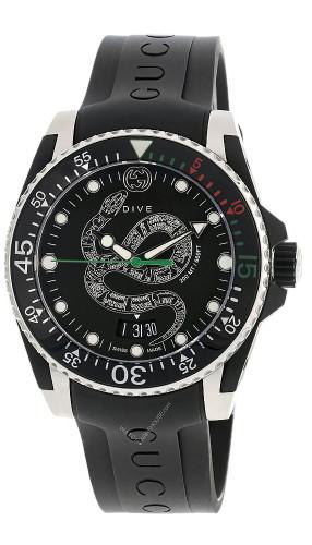 GUCCI Dive 40MM Quartz BLK Serpentine Motif Dial Men's Watch YA136323
