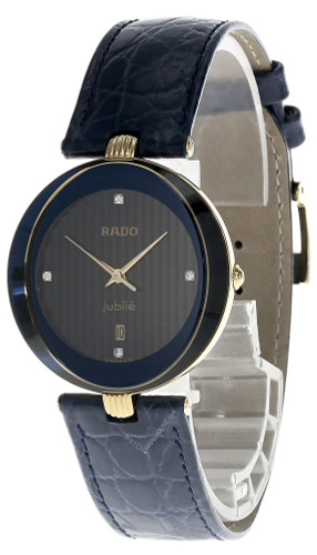 RADO Jubile 32MM BLK Dial Gold Blue Leather Men's Watch 129.3761.2