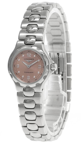 LONGINES Conquest 24MM Quartz Pink Dial Date Women's Watch L11304066