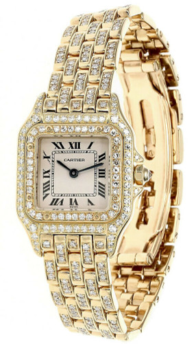 Cartier PANTHERE Ivory White Dial Diamonds 18k Yellow Gold Ladies Watch 128 000M